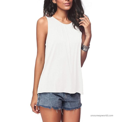 I2CRAZY Womens Tank Tops for Women Summer Back Closure Pleated Sleeveless Shirts at  Women's Clothing store