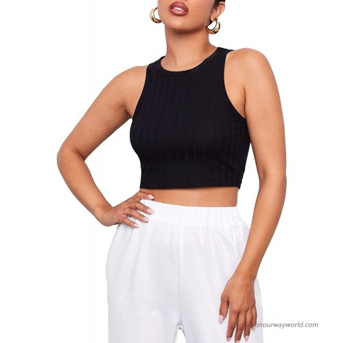 SheIn Women's Sleeveless Round Neck Solid Ribbed Knit Crop Tank Top at Women's Clothing store