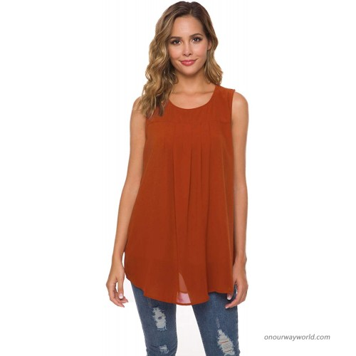 Smile Fish Women Casual Sleeveless Shirts Pleated Layered Flowy Tank Top Orange X-Large at  Women's Clothing store