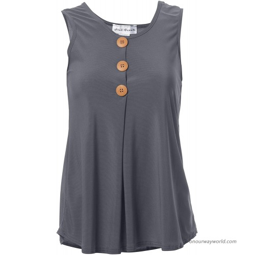 Star Vixen Women's Sleeveless Button Front Flowy Tank Top with Pleated Detail Charcoal XLarge at  Women's Clothing store