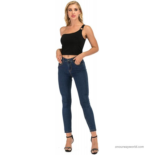STIDY Women's Sleeveless Crop Tops Sexy One Shoulder Tops at Women's Clothing store