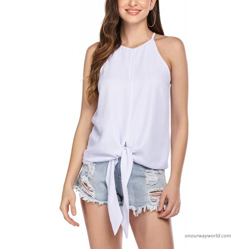 Wildtrest Halter Tops Casual Loose Sleeveless Blouse Shirts Summer Spaghetti Strap Cami Tank Tops S-XXL at  Women's Clothing store