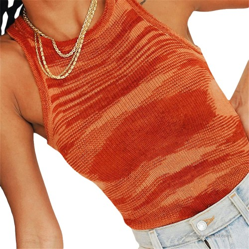 Women Crop Top Ribbed Knit Tie Dye Sleeveless Crew Neck Tank Top Y2K Summer Camisole Slim Fit Vest Tops at  Women's Clothing store