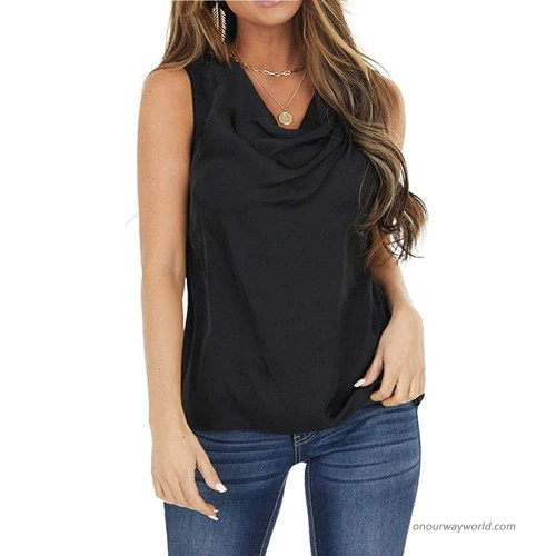 Womens Cowl Neck Sleeveless Tank Tops Summer Casual Plain Ruched Keyhole Back Shirts Blouses Black at Women's Clothing store