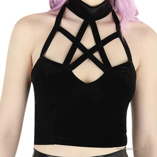 Women's Sexy Gothic Pentagram Halter Crop Tank Tops Hollow Out Velvet Backless Cami Vest for Halloween Party Club Festival at  Women's Clothing store