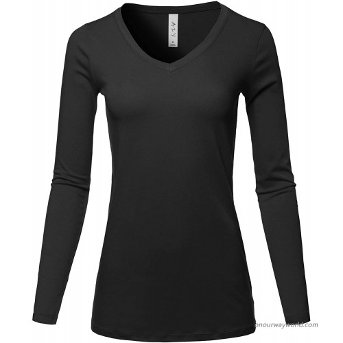 A2Y Women's Basic Solid Soft Cotton Long Sleeve V-Neck Top T-Shirt at  Women's Clothing store