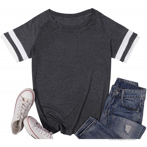 ALLTB Women's Casual Short Sleeve T-Shirts Color Block Summer Tunic Tops Loose Crewneck Tees S-XL at Women's Clothing store