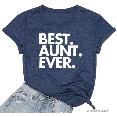 Aunty Life T-Shirt Women Blessed Aunt Shirts Funny Letter Print Casual Tee Tops at  Women's Clothing store