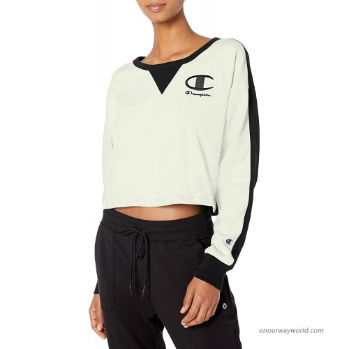 Champion Women's Cropped Crew Long Sleeve Tee with Blocking at  Women's Clothing store
