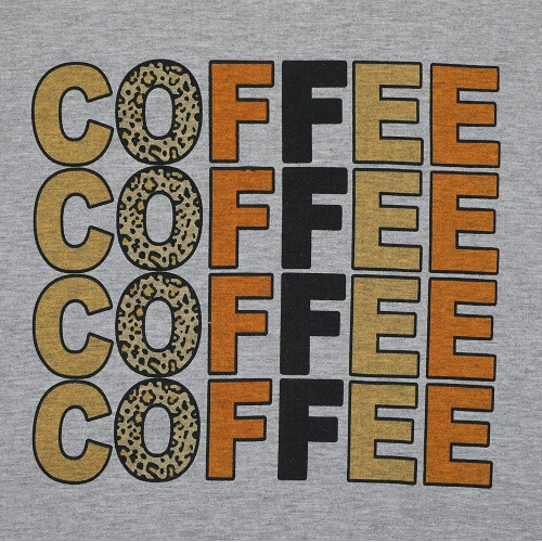 Coffee T Shirts Women Coffee Coffee Coffee Letter Print T Shirts Cute Graphic Tshirt Tee Top with Funny Sayings at Women's Clothing store