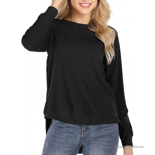 CoolooC Fall Tops for Women Long Sleeve Side Split T Shirts for Leggings Casual Loose Tunic Tops at Women's Clothing store