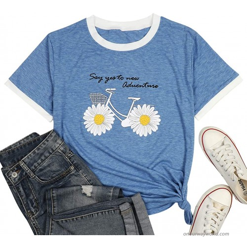 Daisy Shirt for Womens Say Yes to New Adventures Shirts Cute Bike Graphic Short Sleeve Inspirational Tee Tops at  Women's Clothing store
