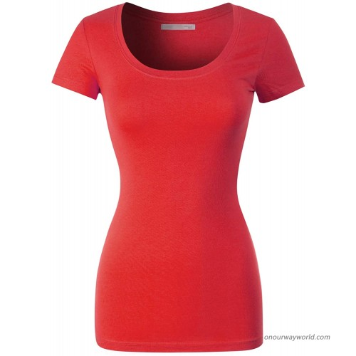 Design by Olivia Women's Basic Solid Casual Deep Scoop Neck Short Sleeve T-Shirt at  Women's Clothing store