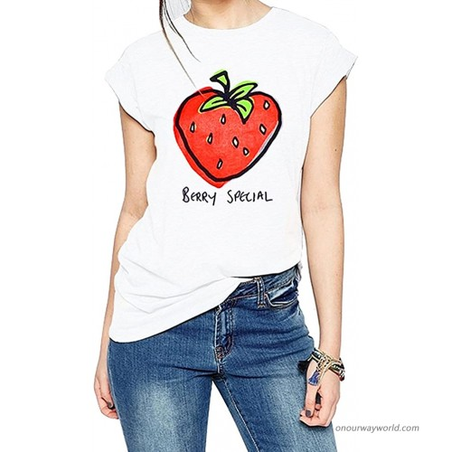 FV RELAY Women's Graphic Tee Tops Cute Strawberry Short Sleeve Casual Teen Girls T Shirts at  Women's Clothing store