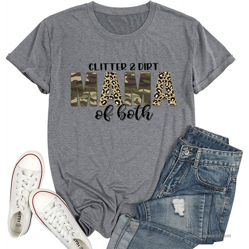 Glitter & Dirt Mama of Both Shirt Women Camouflage Leopard Print Graphic Tee Tops Short Sleeve Mother's Day Shirt at  Women's Clothing store