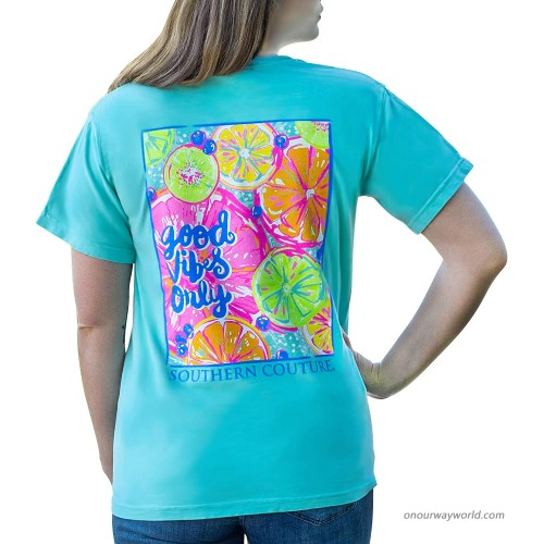 Good Vibes Only Fruit Chalky Mint Green Cotton Fabric Comfort T-Shirt at  Women's Clothing store