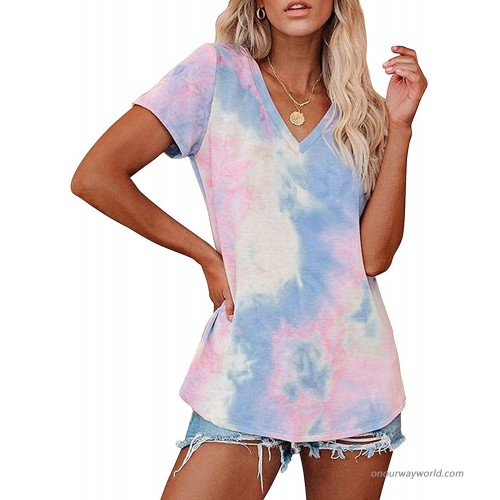 HDLTE Womens Tie Dye V Neck Tunic T-Shirt Gradient Sexy Short Sleeve Color Block Shirt at  Women's Clothing store