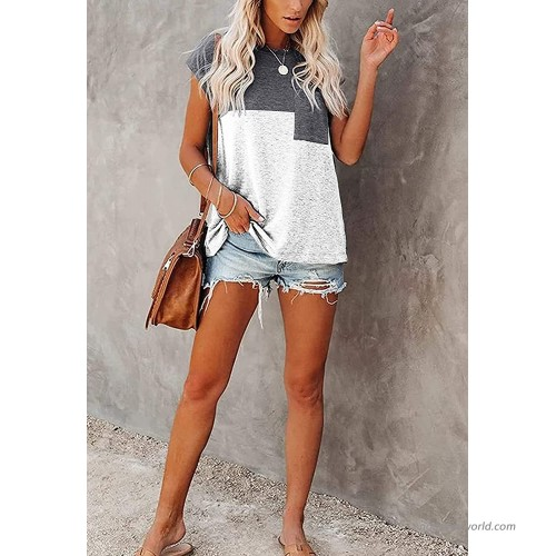 Heflashor Color Block Cap Sleeve T Shirts for Women Summer Casual Tee Tops Loose Blouse with Pocket at Women's Clothing store