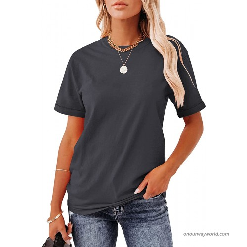 Hilltichu Women's Casual Short Sleeve T-Shirts Basic Tees Round Neck Tops at Women's Clothing store