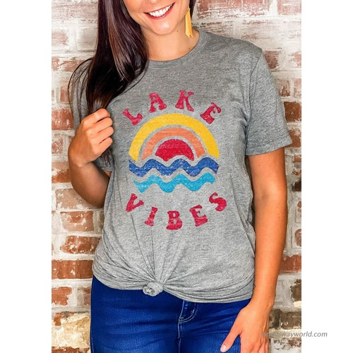 Lake Vibes Rainbow Wave T Shirt for Women Retro Vintage Graphic Lake Mode Shirts Funny Vacation Tee Tops