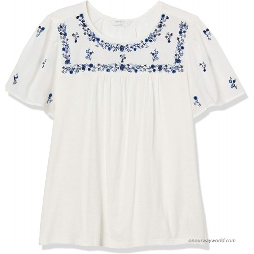 Lucky Brand Women's Short Sleeve Crew Neck Embroidered Bib Knit Mix Top at  Women's Clothing store