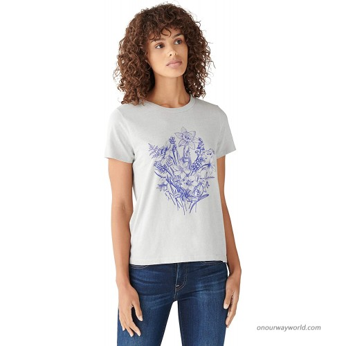Lucky Brand Women's Short Sleeve Crew Neck Floral Graphic Tee