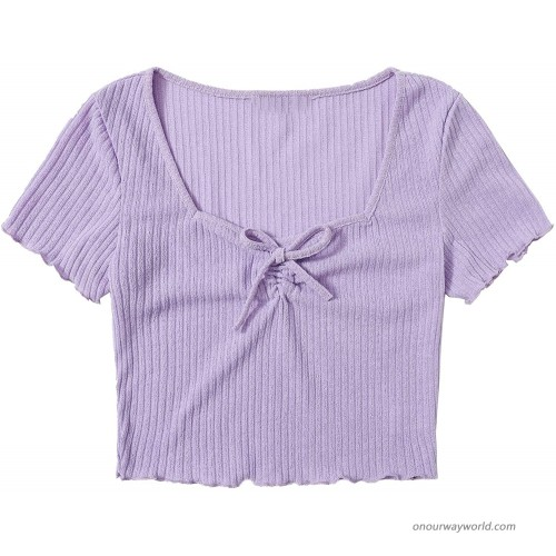 Milumia Women's Drawstring Ruched Front Sweetheart Neck Ribbed Knit Crop Top Tee at  Women's Clothing store