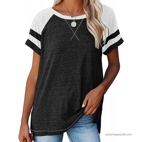 NOVMAY Women's Casual T-Shirts Crewneck Short Sleeve Summer Top Tee Tunics Blouse Loose Color Block Stripe Solid at Women's Clothing store