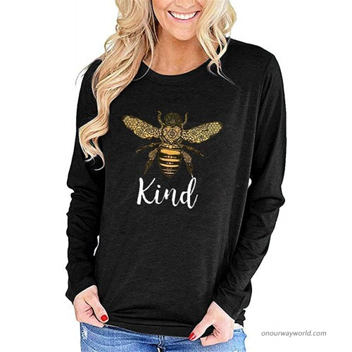Pfvkeree Women's Be Kind Shirts Long Sleeve Crewneck Letters Print Cute Graphic Tees Tops at  Women's Clothing store