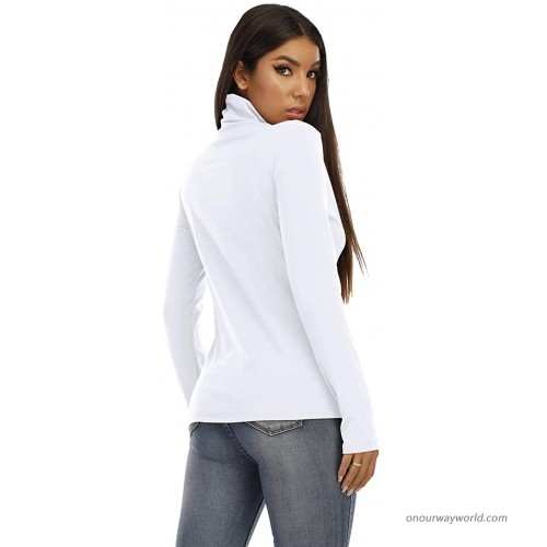 RightPerson Women's Basic Long Sleeve Turtleneck T-Shirt Solid Slim Soft Cotton Tops