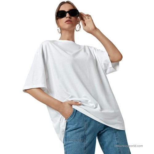 Romwe Women's Casual Short Sleeve Round Neck Plain Summer Loose T Shirt Tee Tops at  Women's Clothing store