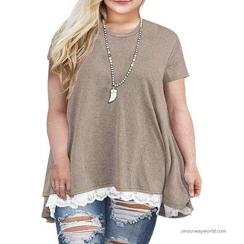Sanifer Women Plus Size Lace Short Sleeve Tunic Tops T Shirts 20W Gray at  Women's Clothing store