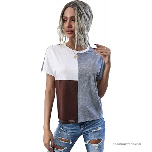 SheIn Women's Short Batwing Sleeve Colorblock Round Neck Tee Shirt Tops at  Women's Clothing store