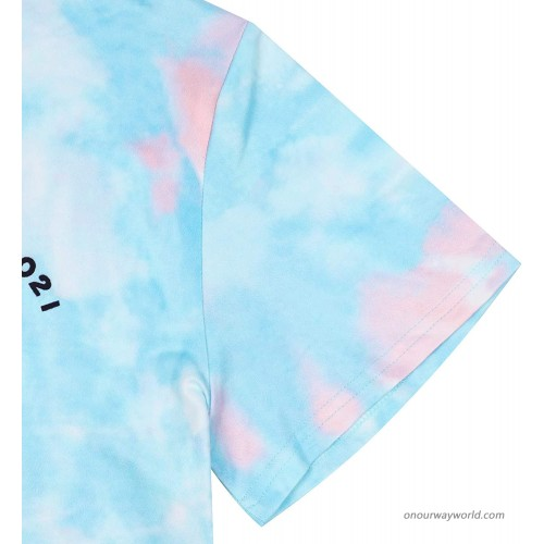 Tie Dye T-Shirt Women Senior 2021 Letter Tee Shirt Printed Graphic Colorful Casual Short Sleeve Blouse Tops at Women's Clothing store