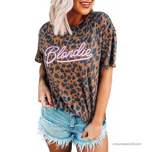 Women Blondie Leopard Graphic Shirt Funny Letter Printed Retro Vintage T-Shirt Summer Casual Loose Fit Tee Blouse at  Women's Clothing store
