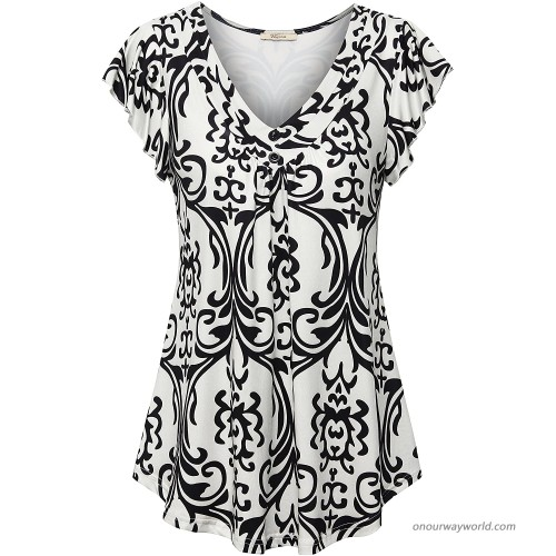Bebonnie Women's Short Sleeve V Neck Pleated Tops Casual Flowy Tee Shirt Tunic Multicolor White M at  Women's Clothing store