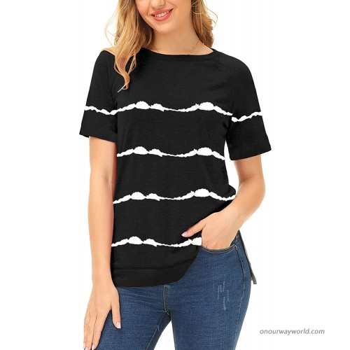 Casual Tops for Women Short Sleeve Shirts Tie Dye Stripe Loose Blouse Tunic Basic Tee T Shirts XX-Large Black at  Women's Clothing store