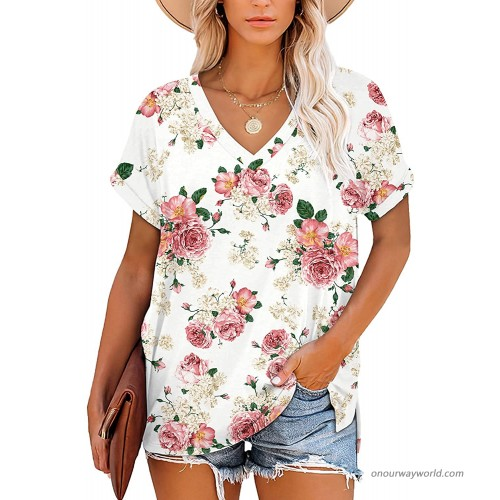 CHICZONE Womens Summer Tops Short Sleeve V Neck T Shirts Casual Loose Fit at Women's Clothing store