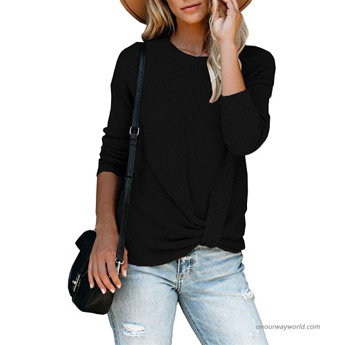 Chuanqi Womens Casual Long Sleeve Waffles Knit Tops One Shoulder Twist Knot Front Loose Pullover Tunic Shirts