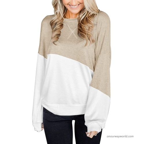 Dbtanjy Women's Crew Neck Color Block Tunic Tops Long Sleeve Blouse Loose Pullover