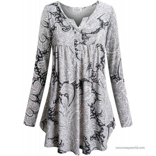 DSUK Women's Split Neck with Buttons Long Sleeve Pleated Floral Casual Tunic Tops at Women's Clothing store