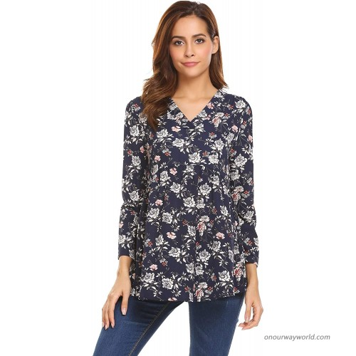 ELOVER Women's Printed Tunic Long Sleeve Boho V Neck Blouse Casual Floral Tops at  Women's Clothing store