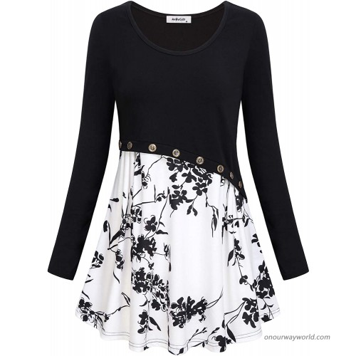 Flowy Floral Tops for Women Ladies Boyfriend Shirt Casual Cute Dressy Style Tunic Long Sleeve O Neck Pullover Contrast Color Flower Patchwork Mini Dresses Party Club Lightweight Outfits Fall Black XXL at  Women's Clothing store