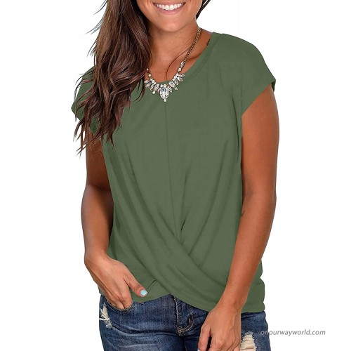 Jedyful Women's Short Sleeve Round Neck Front Twist Knotted Tshirt Summer Casual Loose Tunic Tops at  Women's Clothing store