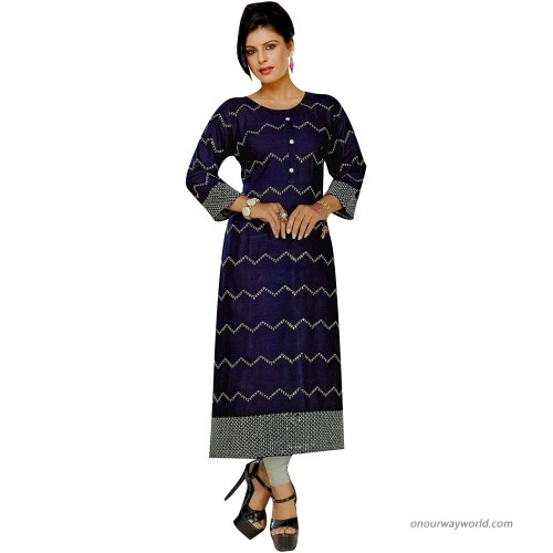 ladyline Plain Rayon Embroidery Sequins Kurti for Womens Indian Kurta Tunic at Women's Clothing store
