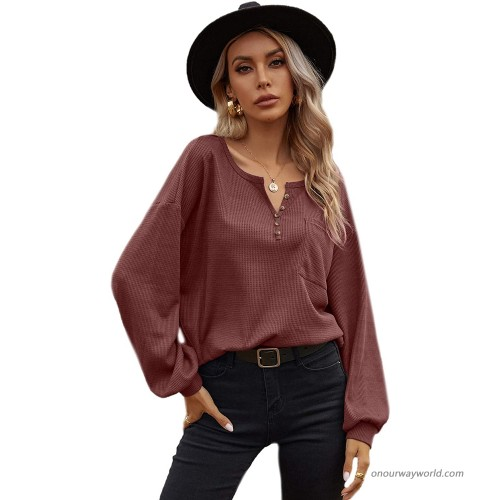 Romwe Women's Casual Long Sleeve Button Front Notched Neck Pocket Henley Shirts Tee Tops at  Women's Clothing store