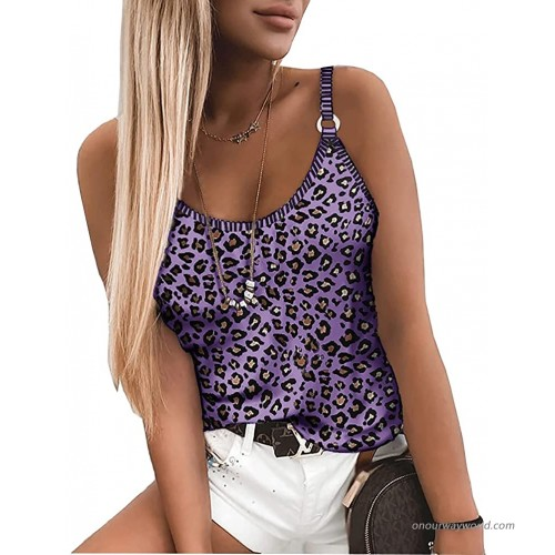 Swahugh Spaghetti Strap Tank Top Sexy Leopard Print Camisole for Women Cute Flowy Crop Top Shirts Sleeveless Basic Tees at  Women's Clothing store