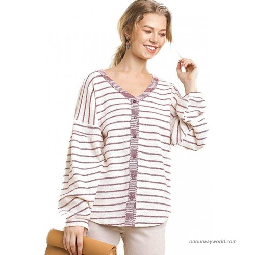 Umgee Striped Long Sleeve V-Neck Button Front Light Weight Top with Scoop Hem at Women's Clothing store