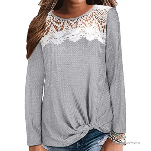 Women Casual Long Sleeve Round Neck Lace Patchwork Tunic Top Twist Knot Waffle Knit Shirts Loose T-Shirt TopGrey S at  Women's Clothing store