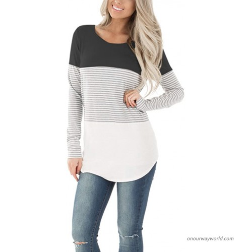 YOUCOO Women Casual Stripe Blouse Crewneck Short Sleeve Tunic Tops Shirts at Women's Clothing store